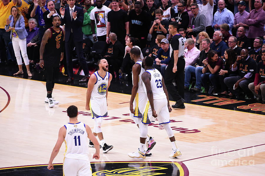 Draymond Green, Stephen Curry, and Kevin Durant Photograph by Noah Graham