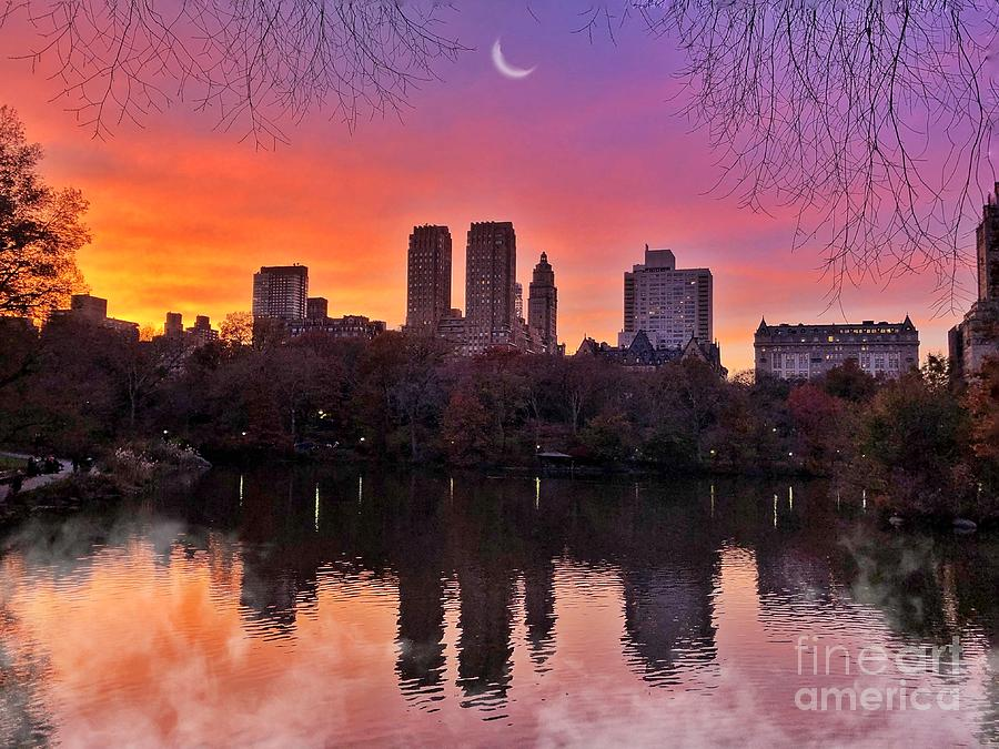Central Park Photograph - Dreaming In Pastel - Central Park Sunset - With Fog by Miriam Danar