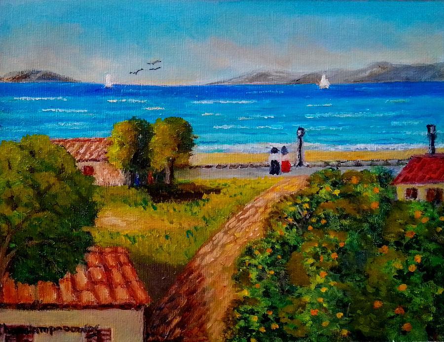 Drepanon Village In Greece Painting