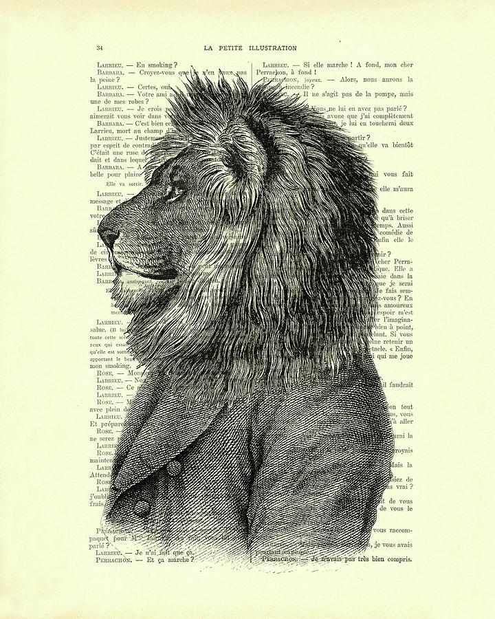 Lion Digital Art - Dressed up lion, wildlife animal portrait by Madame Memento