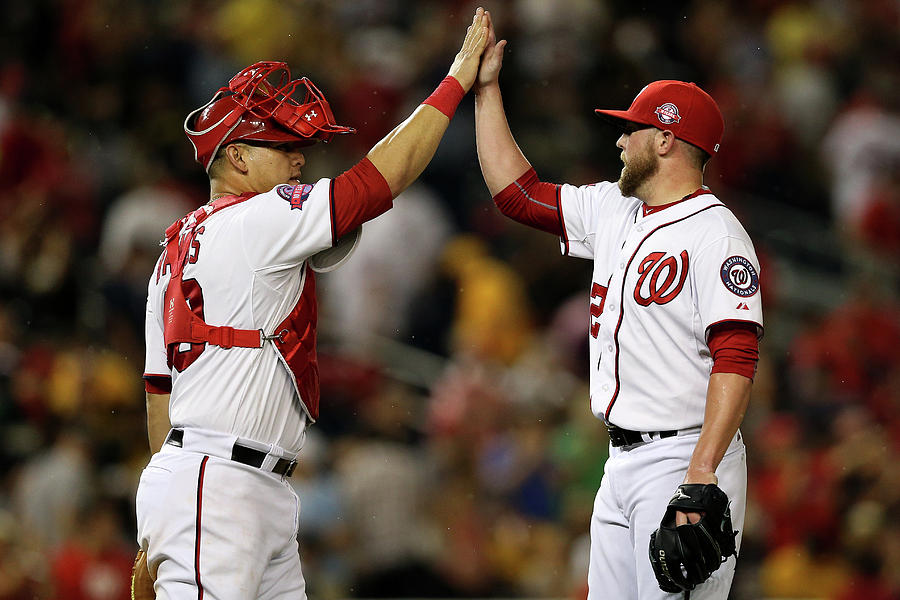 Drew Storen and Wilson Ramos Photograph by Patrick Smith