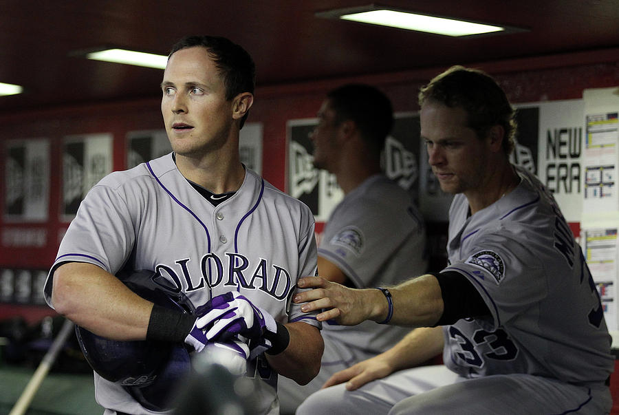 Drew Stubbs And Justin Morneau Photograph by Christian Petersen