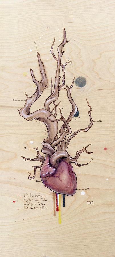 Driftwood Heart Pyrography by Fay Helfer