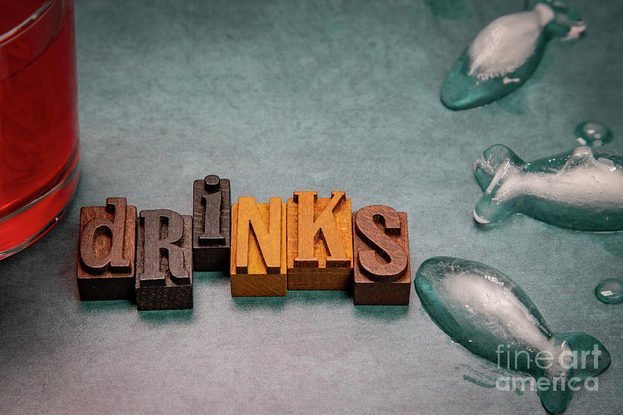 Drinks In Wooden Typeface Photograph