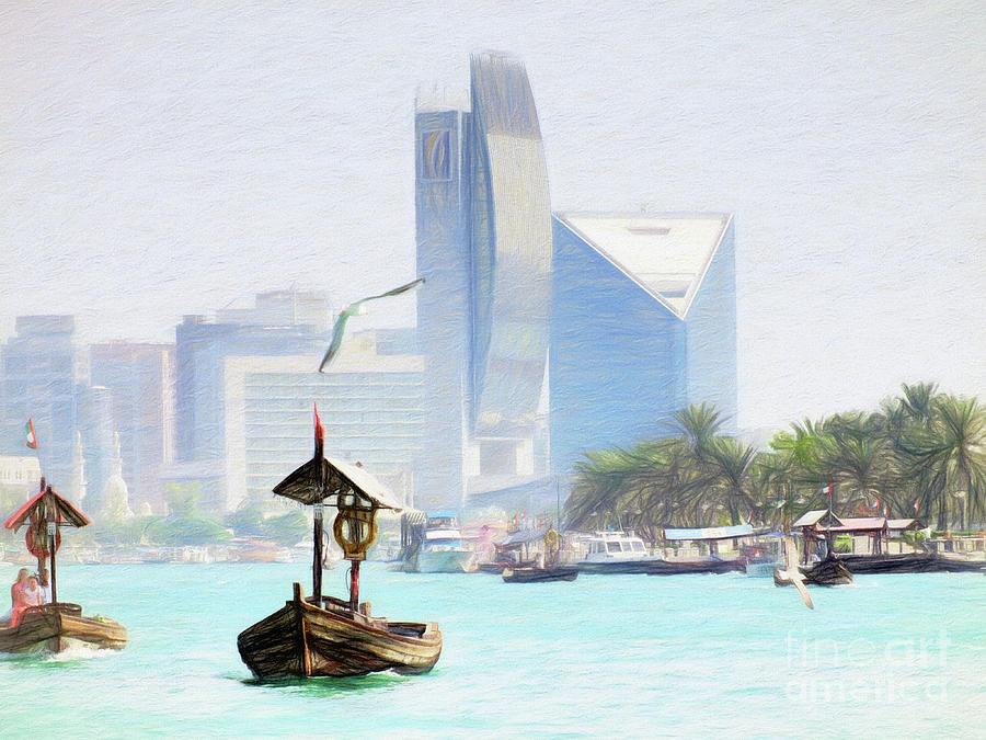Dubai Creek - Old and New 100cm x 80cm by Scott Cameron
