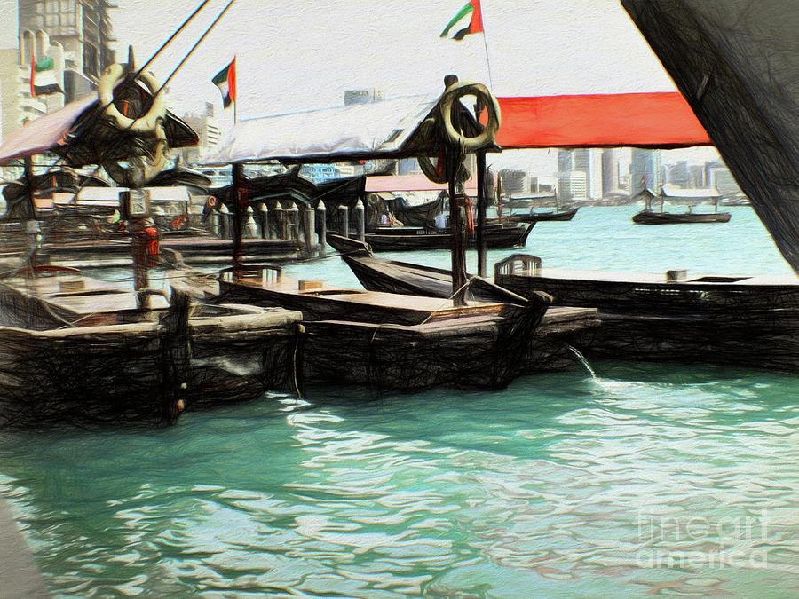 Dubai Creek Waterfront - 100cm x 80cm by Scott Cameron