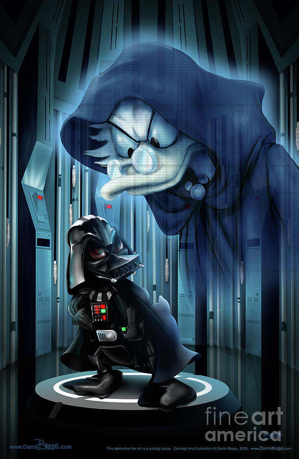 Vader Drawing - Duck is thy bidding, my master by Darrin Brege