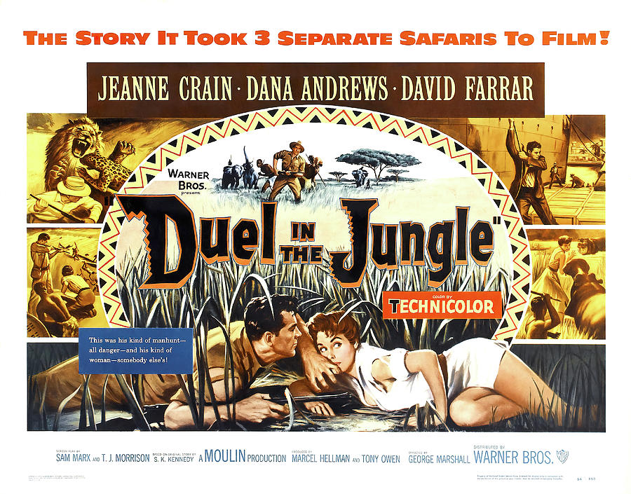 duel In The Jungle Movie Poster, With Jeanne Crain, 1954 Mixed Media