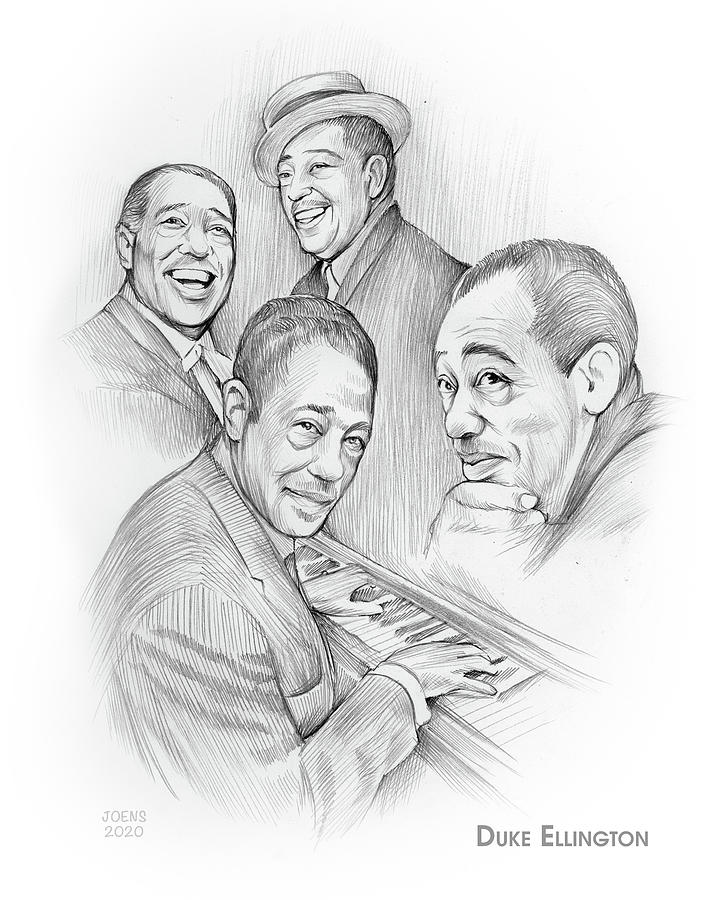 Duke Ellington Drawing - Duke Ellington - Pencil by Greg Joens