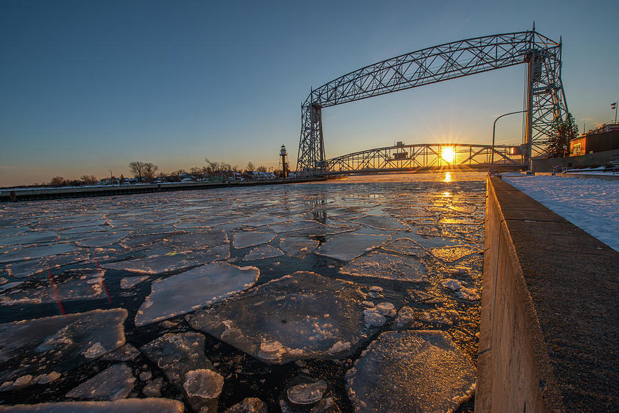 Ice Photograph - Duluth Canal Ice Sunset  by Shane Mossman