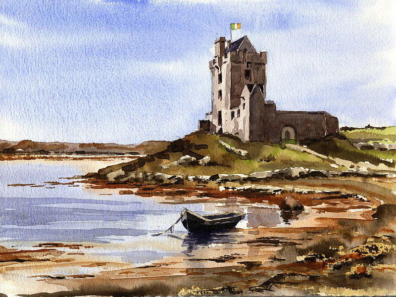 DunGuaire Castle, Kinvara, Galway by Val Byrne