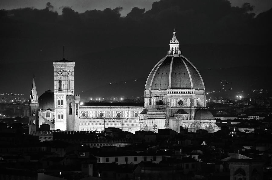 Duomo and Giotto's Bell Tower Lit at Night Florence Italy Black and White by Shawn O'Brien