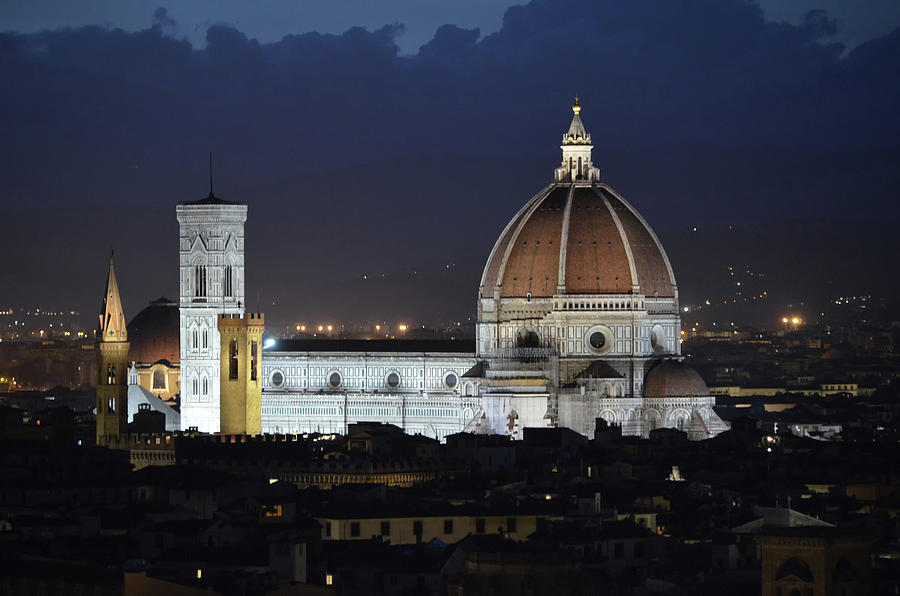 Duomo and Giotto's Bell Tower Lit at Night Florence Italy by Shawn O'Brien