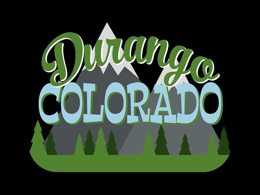 Durango Digital Art - Durango Colorado Retro Mountains Trees by Flo Karp
