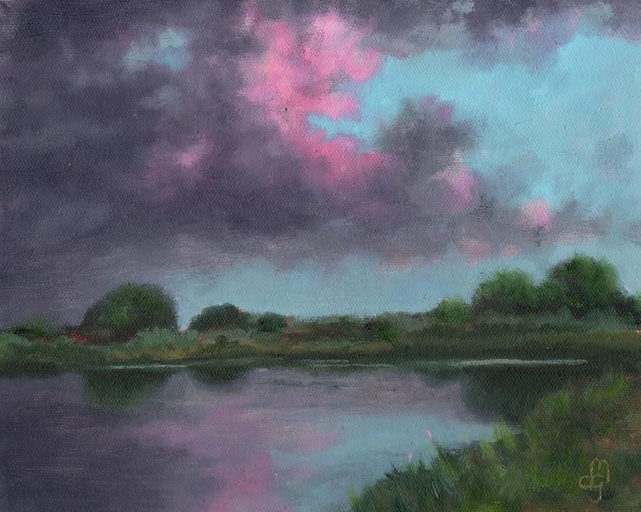 Florida Landscape Painting - Dusk Lake Woodruff by Diane Martens