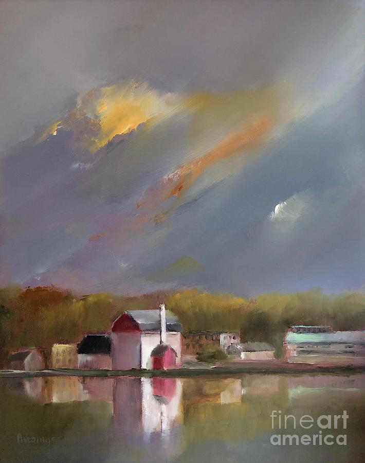 Bucks County Painting - Dusk Over New Hope, PA by Paint Box Studio