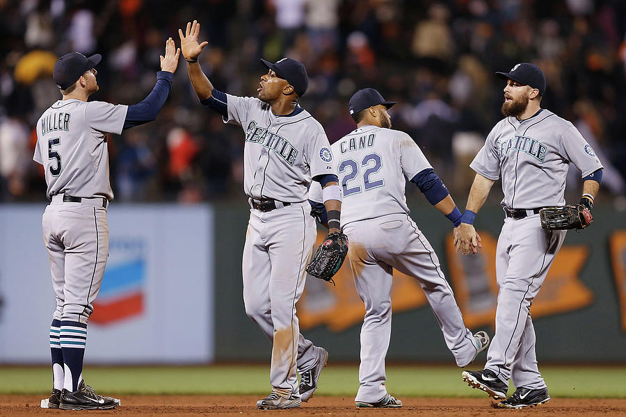 Dustin Ackley, Austin Jackson, and Brad Miller Photograph by Lachlan Cunningham
