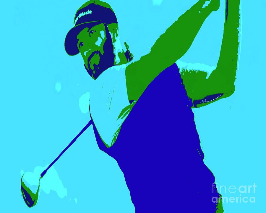 Golf Painting - Dustin Johnson 2020 by Jack Bunds