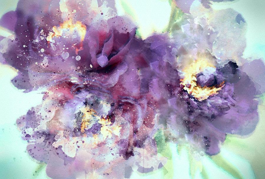 Dusty Purple Camellias In Watercolor Digital Art