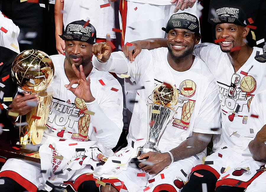 Dwyane Wade, Chris Bosh, and Lebron James Photograph by Kevin C. Cox