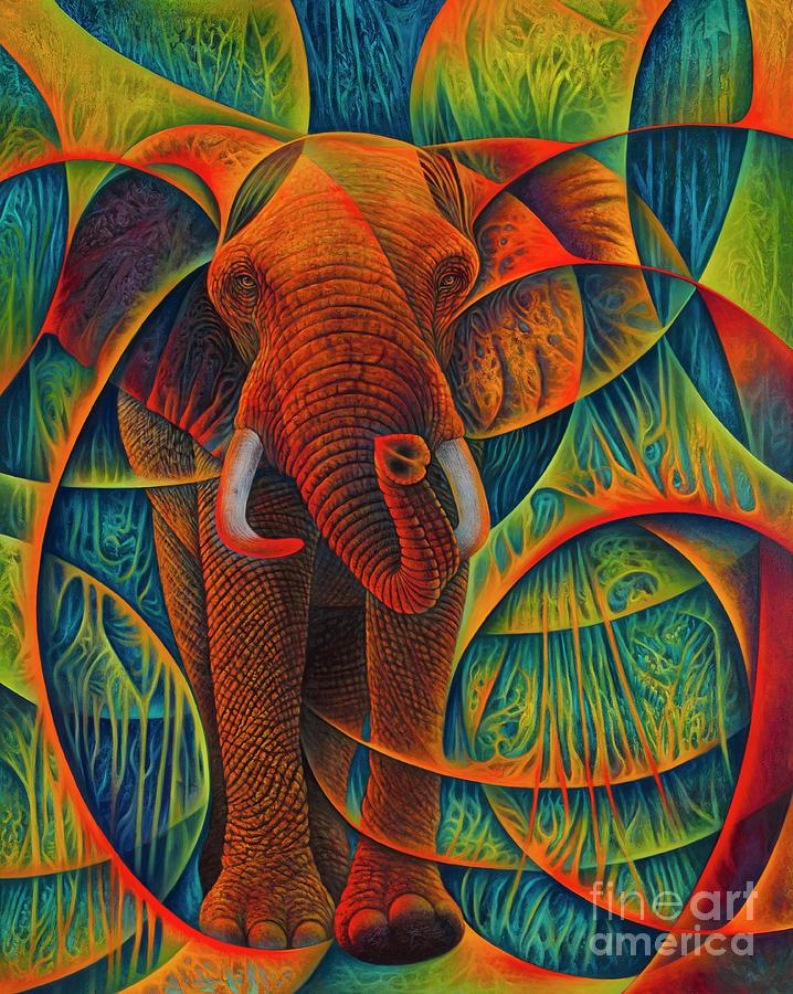 Dynamic Elephant - 3d Painting