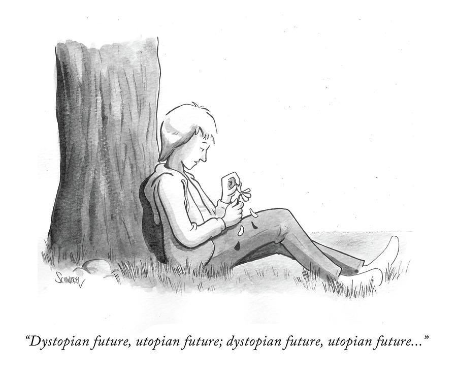 Dystopian Utopian Future Drawing by Benjamin Schwartz