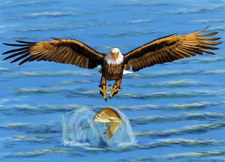 Eagle Midair Catch Digital Art