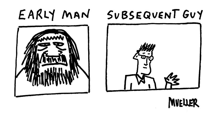 Early Man Drawing by Peter Mueller