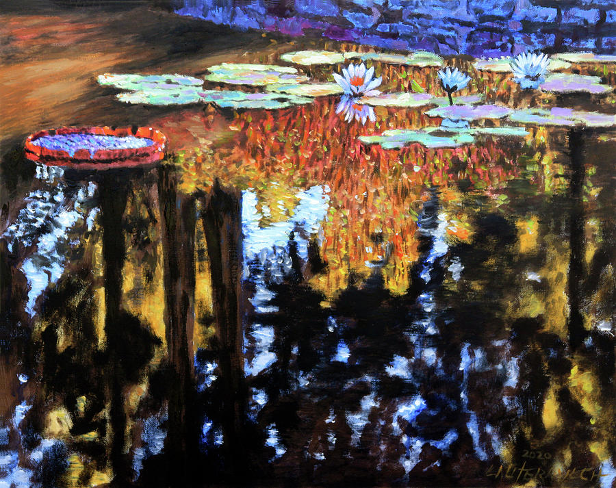 Garden Pond Painting - Early Morning Light by John Lautermilch