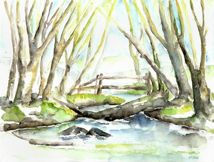 Early Spring At Little Creek Koesterbeck Painting by Barbara Pommerenke