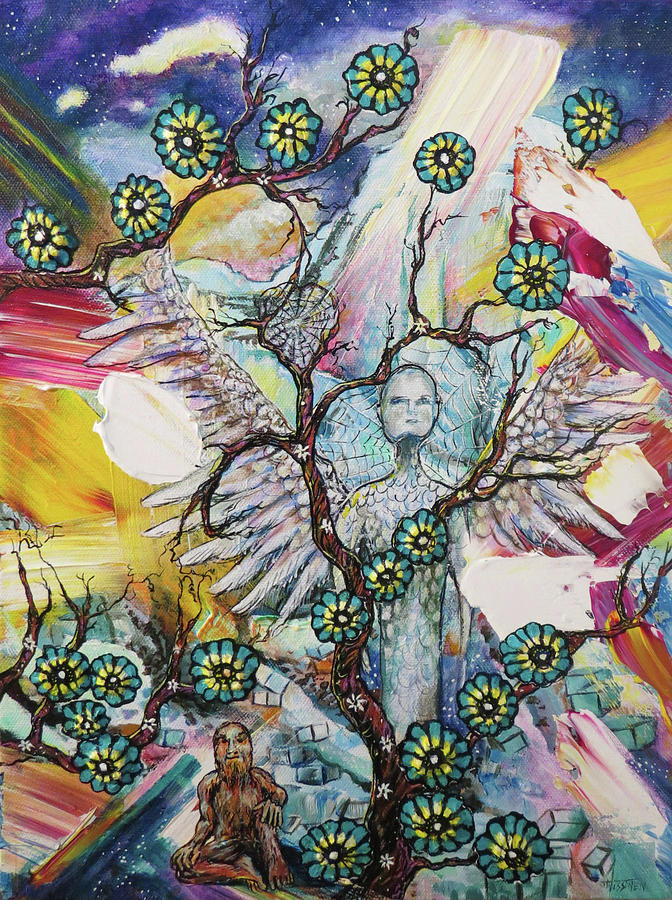 Earth Angel Painting - Earth Angel with Bigfoot by June Nissinen