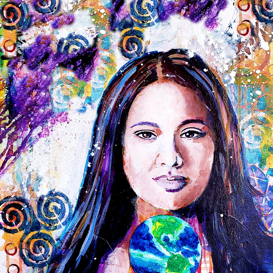 Earth Painting - Earth Goddess by Goddess Rockstar