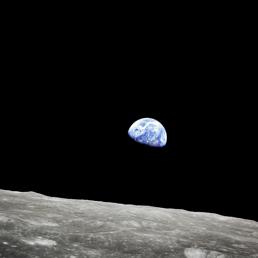 Earthrise Photograph - Earthrise - The Original Apollo 8 Color Photograph by Eric Glaser