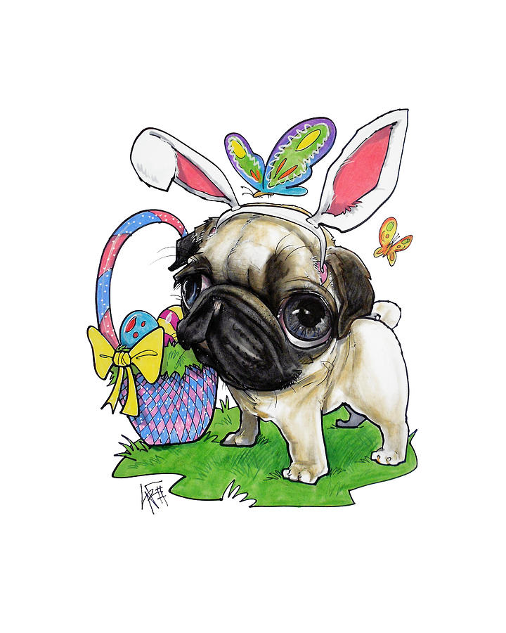 Easter Bunny Pug Drawing