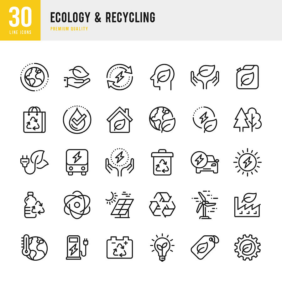 Ecology & Recycling - set of line vector icons. Pixel Perfect. Set contains such icons as Climate Change, Alternative Energy, Recycling, Green Technology Photograph by Fonikum
