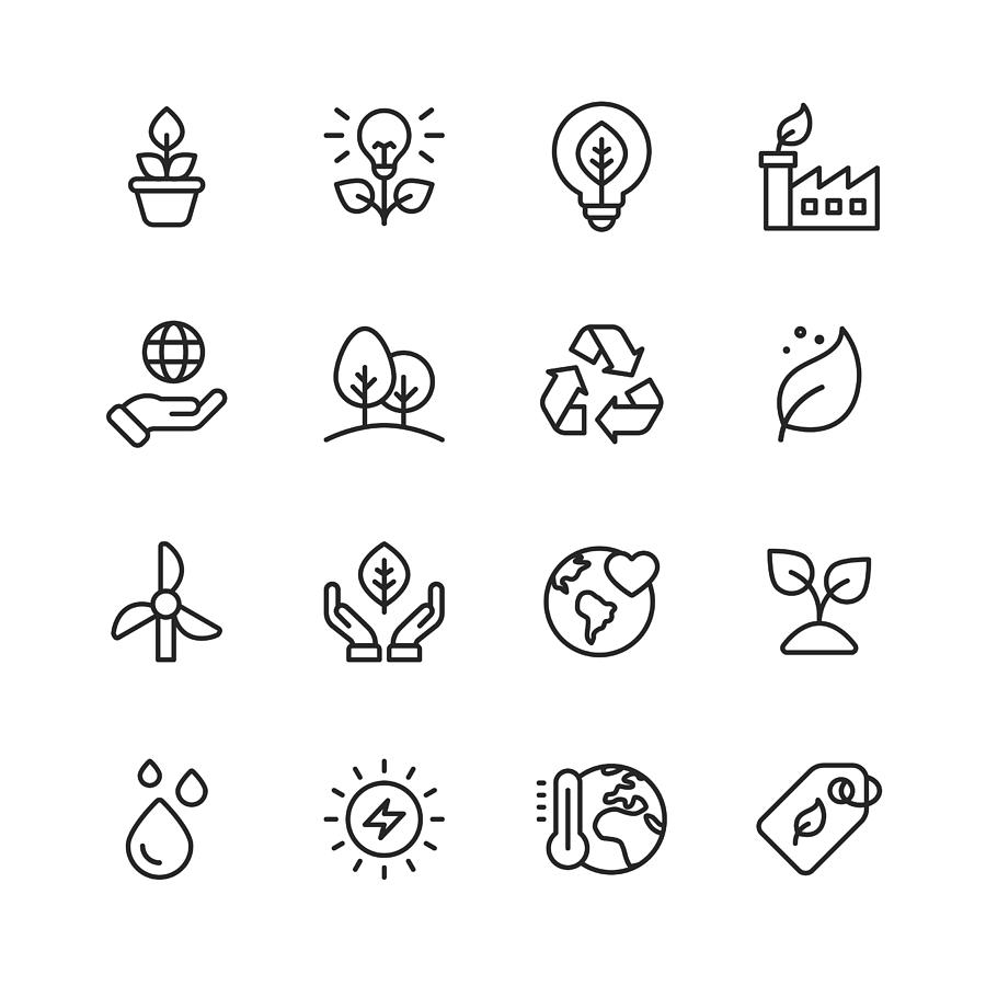 Ecology and Environment Line Icons. Editable Stroke. Pixel Perfect. For Mobile and Web. Contains such icons as Leaf, Ecology, Environment, Lightbulb, Forest, Green Energy, Agriculture. Drawing by Rambo182