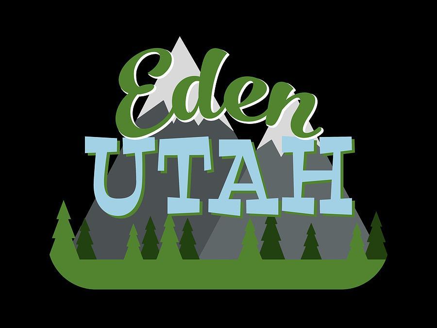 Eden Digital Art - Eden Utah Retro Mountains Trees by Flo Karp