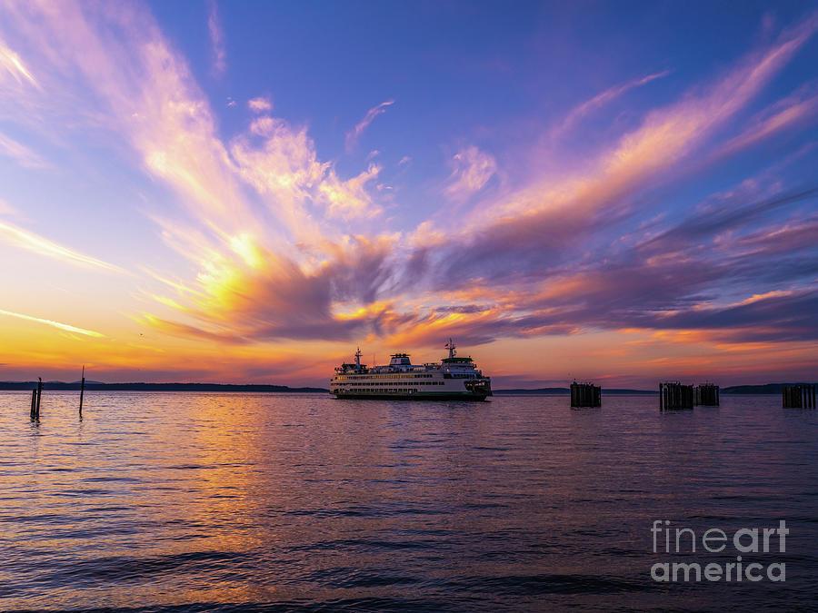 Edmonds Ferry Arriving At Sunset Photograph