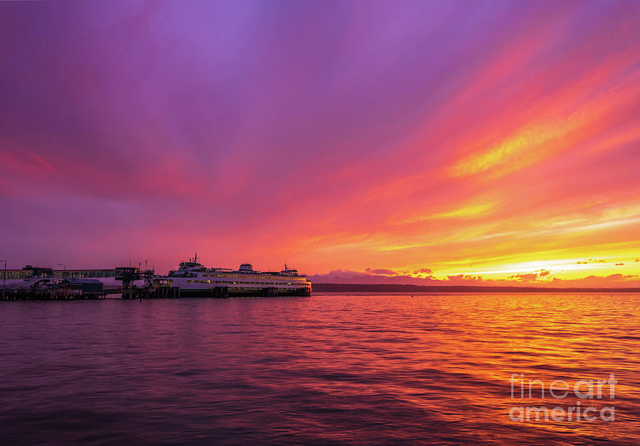 Edmonds Ferry Fiery Sunset Skies Photograph