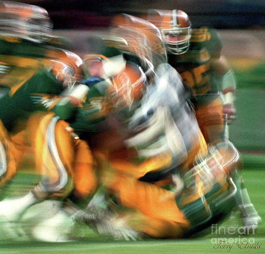 Edmonton Eskimos Football - Slo Mo Big Tackle - 1986 Photograph