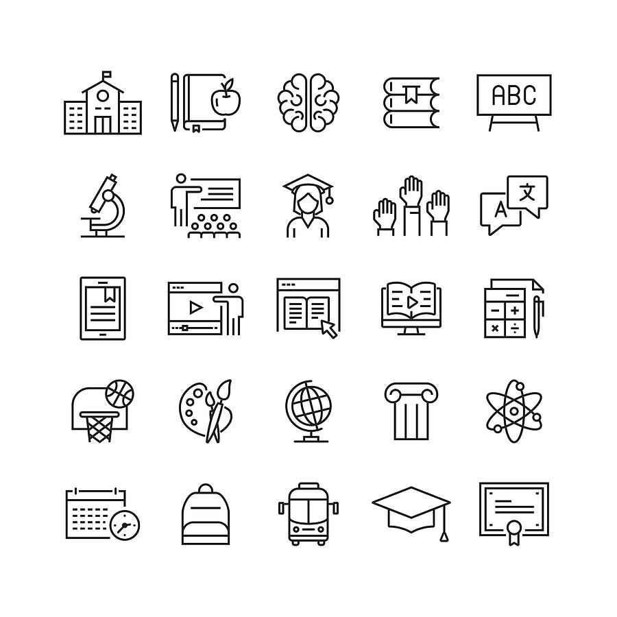 Education and School Related Vector Line Icons Drawing by Cnythzl