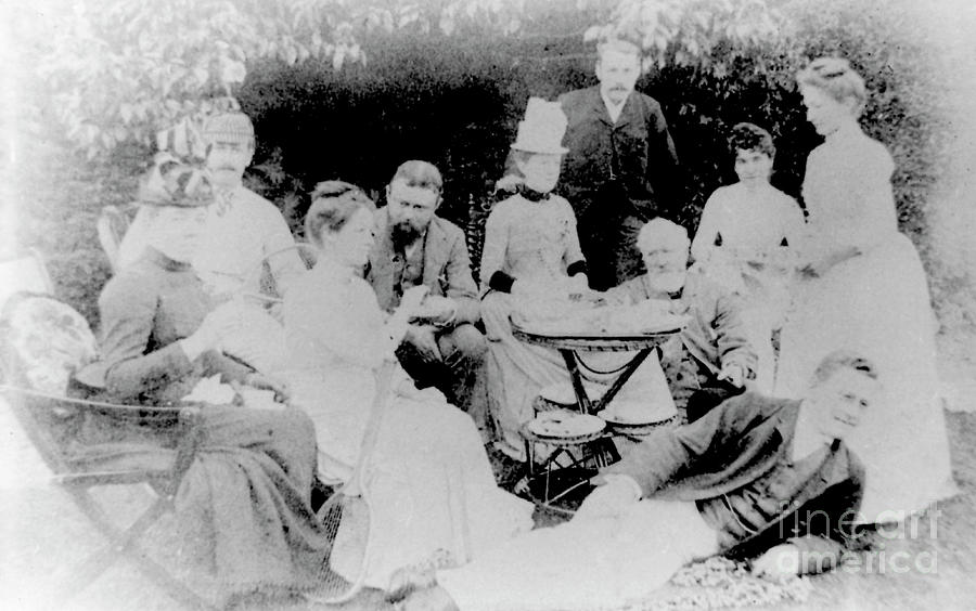Edward Elgar at a tea party with Helen Weaver, 1879 by English School