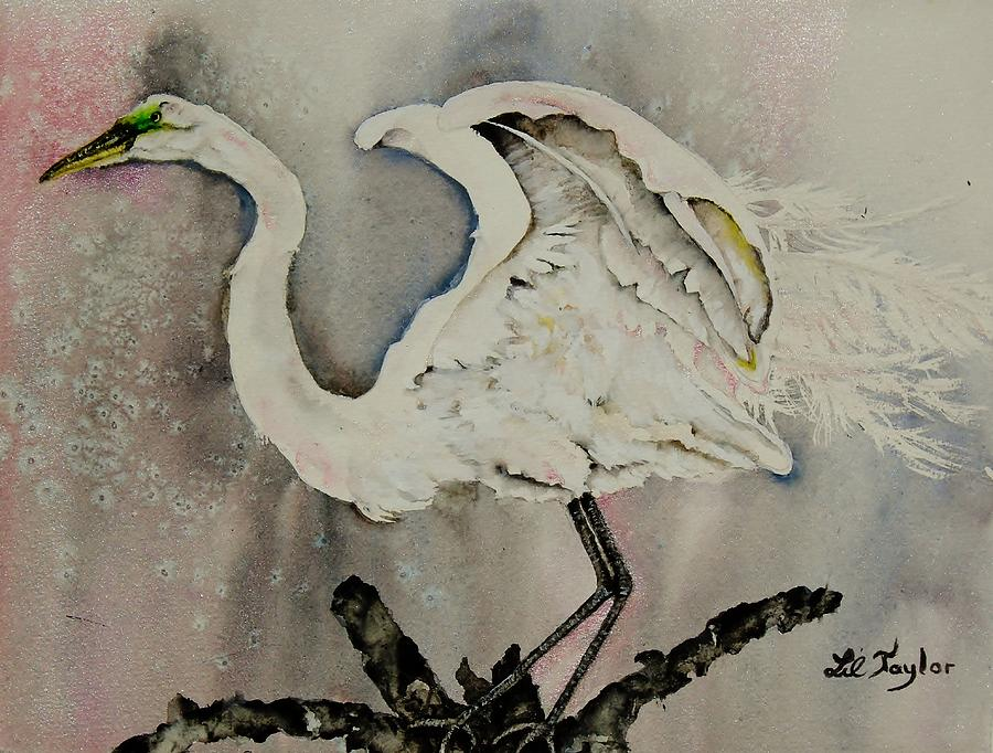 Egret In Pink And Gray Painting