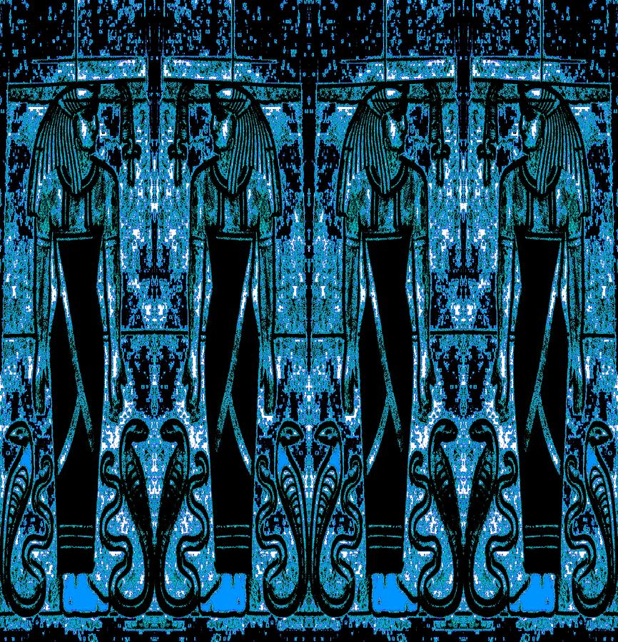 Egyptian Priests And Cobras Blue 3 Mixed Media