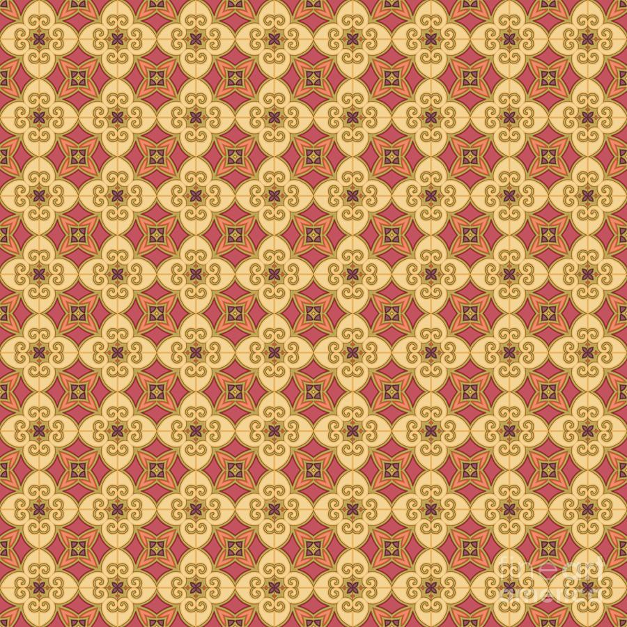 Purple Digital Art - Egyptian Tapestry Pattern #4 by Lynn Evenson