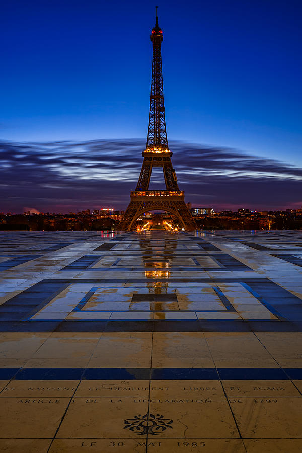 Eiffel Tower In Paris France Seen From Trocadero On A Beautiful Rainy Lonely Morning Photograph By George Afostovremea