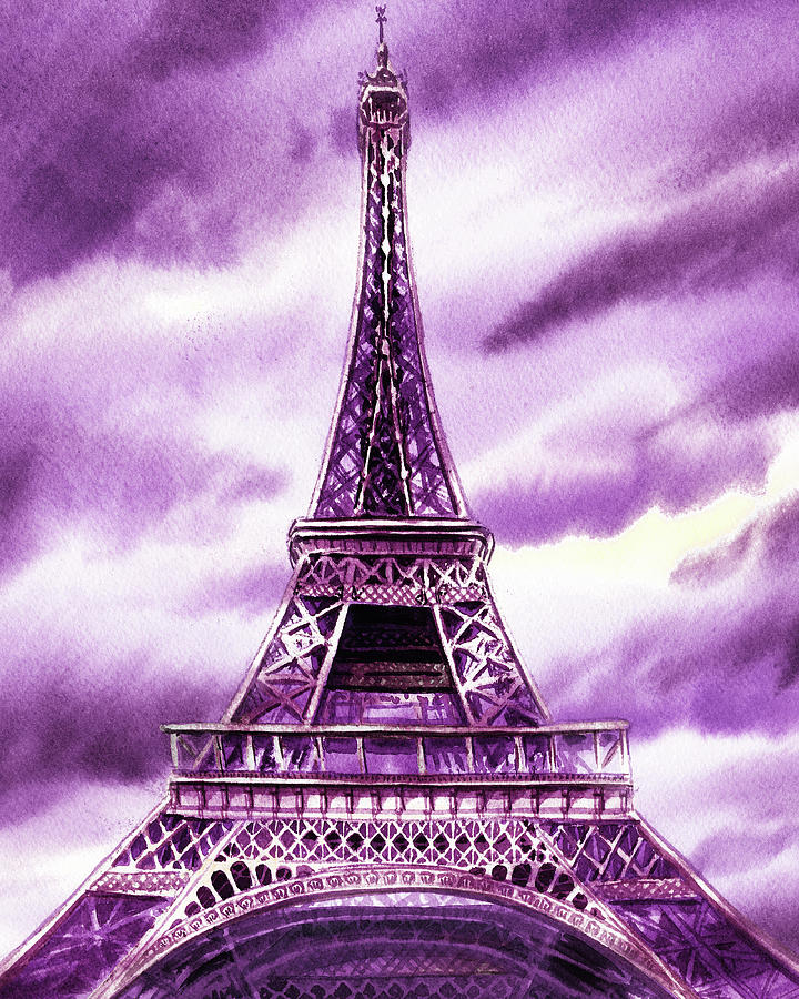 Eiffel Tower In Purple Watercolor French Chic Decor Painting