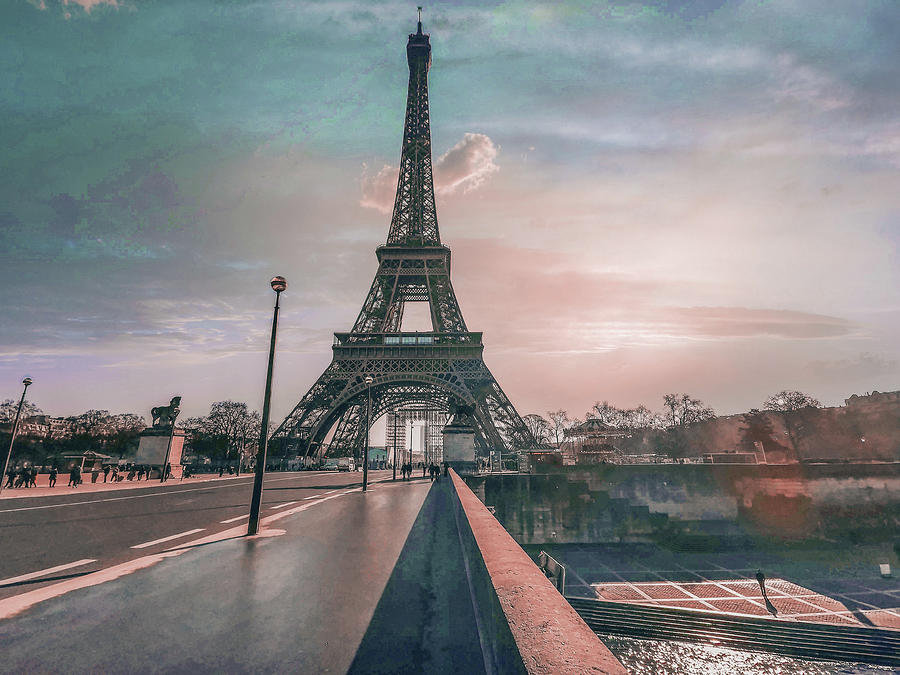 Eiffel Tower Near City Road Under Sky At Sunset - Surreal Art By Ahmet Asar Digital Art