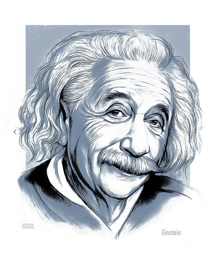 Albert Einstein Drawing - Einstein Line Art by Greg Joens