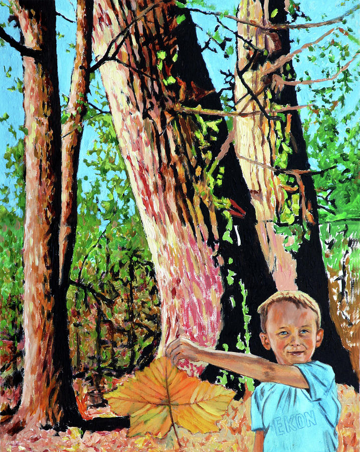 Trees Painting - Ekon with Big Leaf by John Lautermilch